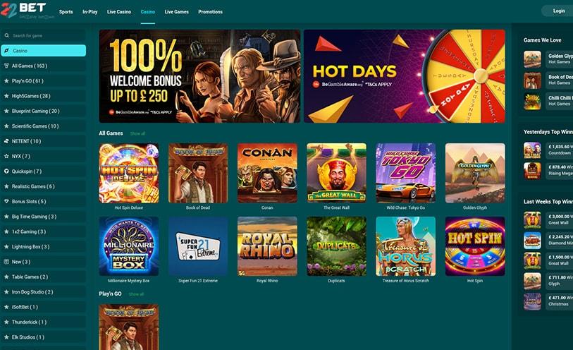 22Bet casino popular board games